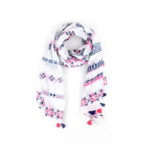 Aztec Tassel Scarf - Fuchsia and Navy - Palm Edit