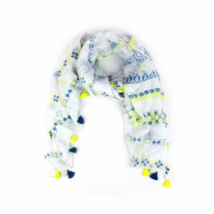 Aztec Tassel Scarf - Lime and Blue - Palm Edit