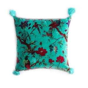 Birds of Paradise Cushion - Aqua - Palm Edit