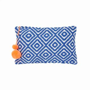 Blue Diamond Geo Pattern Large Clutch - Palm Edit
