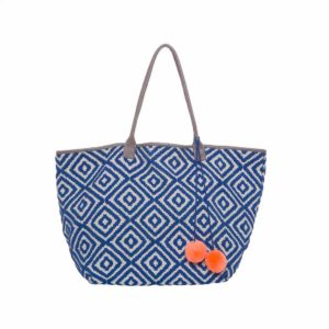 Blue Diamonds Geo Pattern Large Tote - Palm Edit