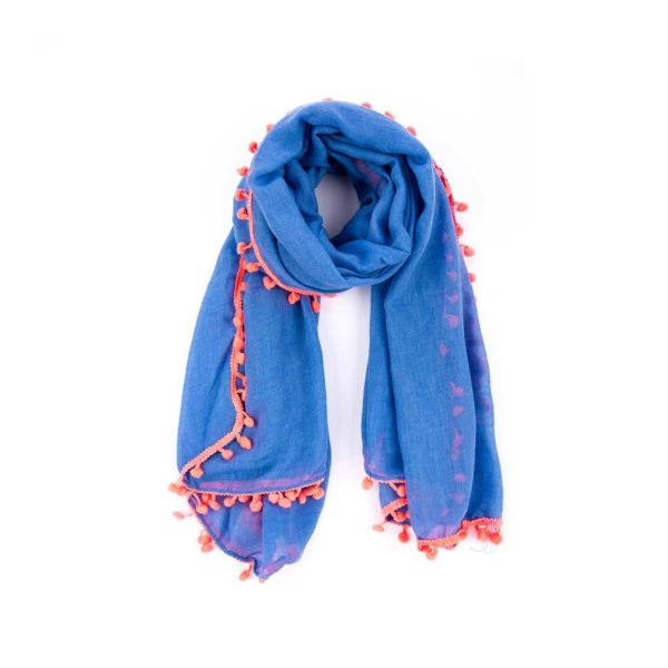 Coral Pom Pom Scarf - Light Blue - Palm Edit