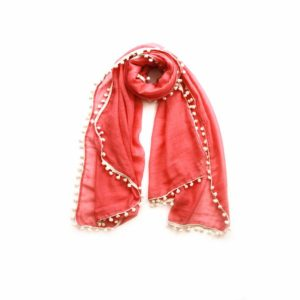Cream Pom Pom Scarf - Coral - Palm Edit