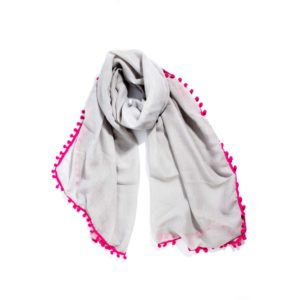 Fuchsia Pom Pom Scarf - Light Grey - Palm Edit