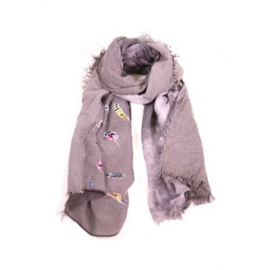 Grey Feather Print Scarf - Palm Edit