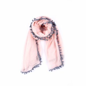 Grey Pom Pom Scarf - Pink - Palm Edit