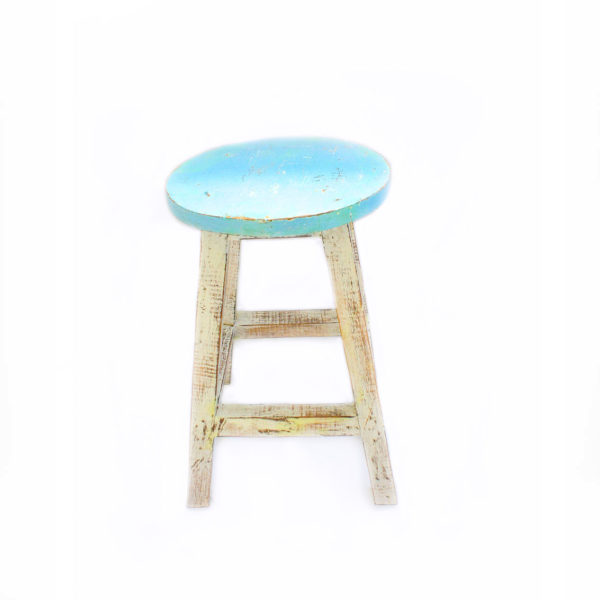 Hand Painted Wooden Stall Blue - Furniture - Palm Edit