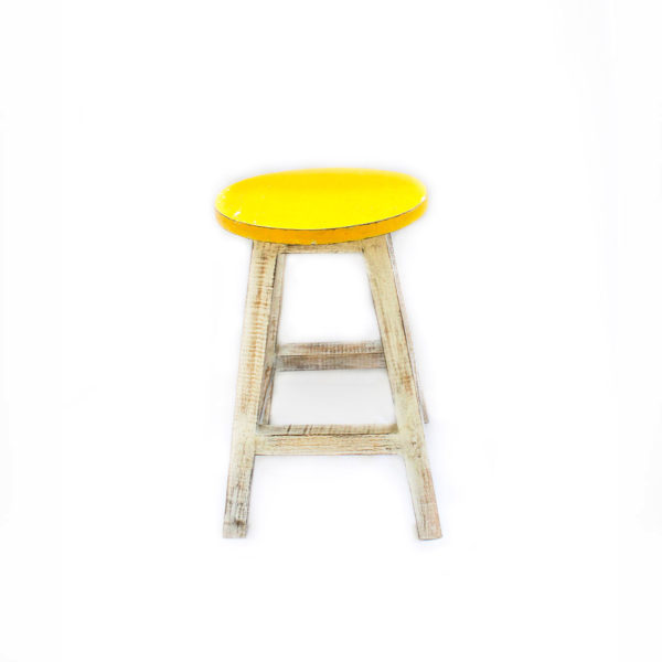 Hand Painted Wooden Stall Yellow - Furniture - Palm Edit