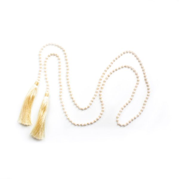 Large Crystal Double Tassel Lariat - Cream - Palm Edit