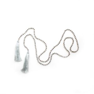 Large Crystal Double Tassel Lariat - Light Grey - Palm Edit