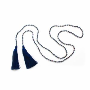 Large Crystal Lariat Double Tassel necklace - Navy - Palm Edit