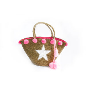 Large Star Pom Pom Bag - Pale Pink - Palm Edit