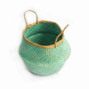 Large Straw Belly Bag - Aqua - Palm Edit