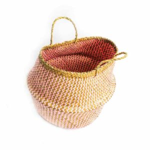 Large Straw Belly Basket - Pink - Palm Edit