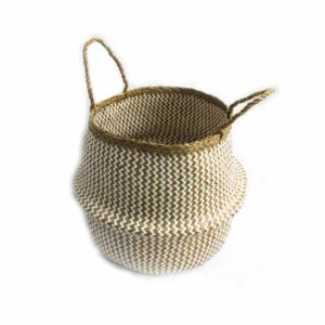 Large Straw Belly Basket - White - Palm Edit