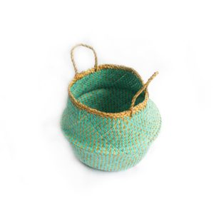 Medium Straw Belly Bag - Aqua - Palm Edit