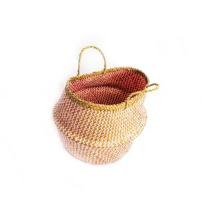 Medium Straw Belly Basket - Pink - Palm Edit