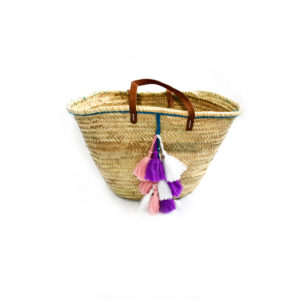 Morrocan Tassel Beach Bag - Pink, Purple and White - Palm Edit