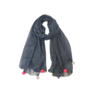 Multi Pom Pom Scarf - Navy - Palm Edit
