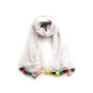 Multi Pom Pom Scarf - White - Palm Edit