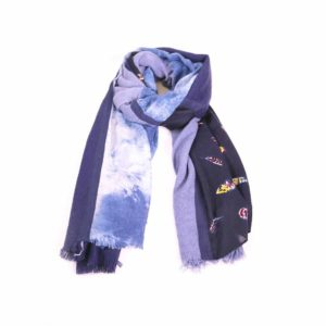 Navy Feather Print Scarf - Palm Edit