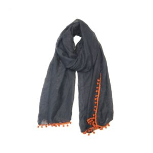 Orange Pom Pom Scarf - Navy - Palm Edit