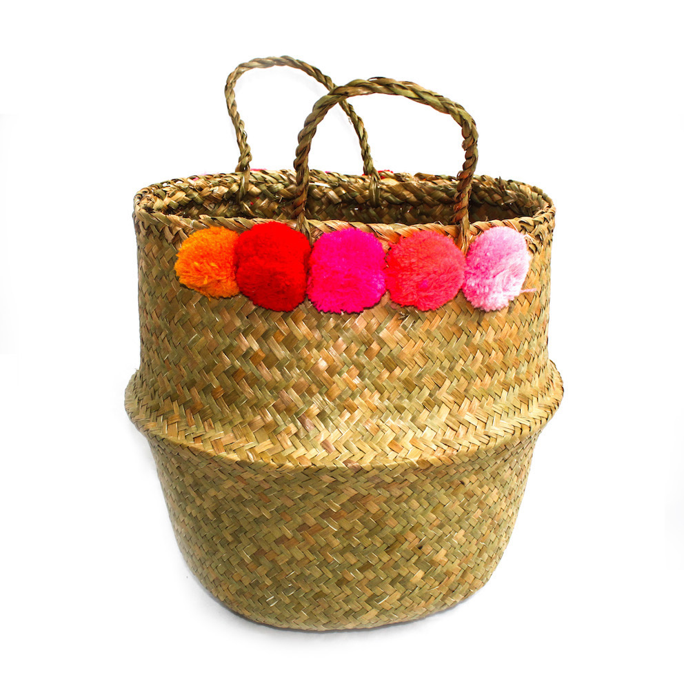 Pom Pom Belly Basket - Multi Pink - Palm Edit
