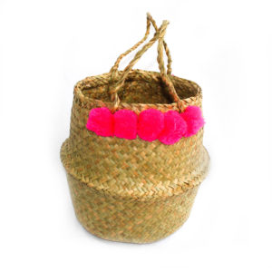 Pom Pom Belly Basket - Pink - Palm Edit