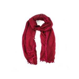 Pom Pom Scarf - Burgundy - Palm Edit