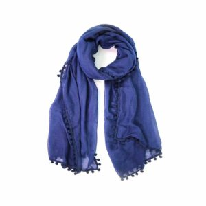 Pom Pom Scarf - Navy - Palm Edit