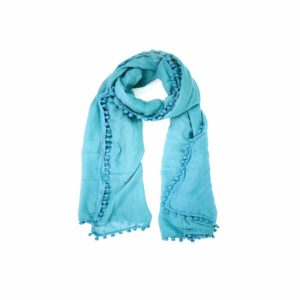 Pom Pom Scarf - Teal - Palm Edit