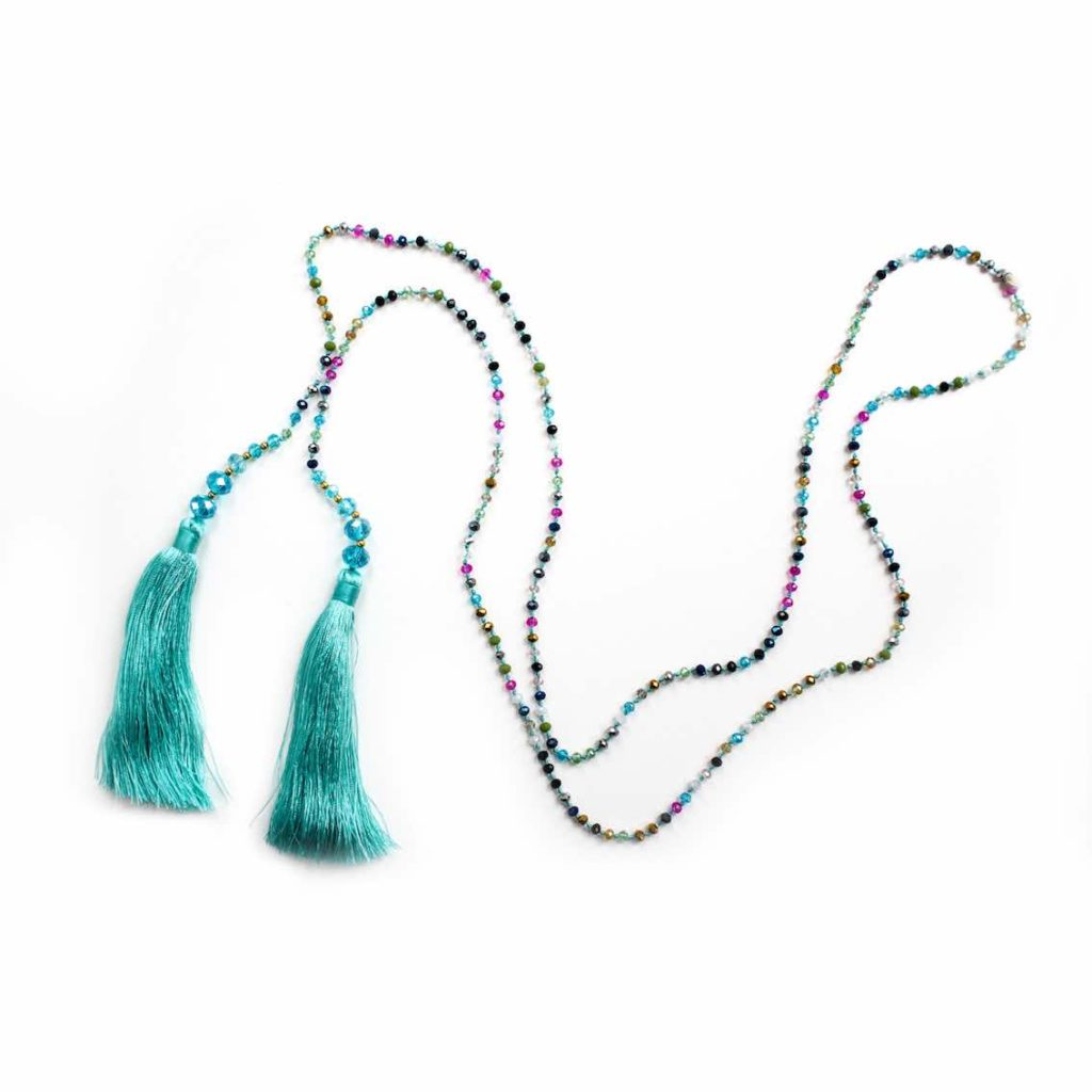 Small Multi Crystal Lariat necklace - Aqua - Palm Edit