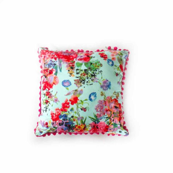 Turquoise Bella Rose Cushion with Pom Poms - Palm Edit