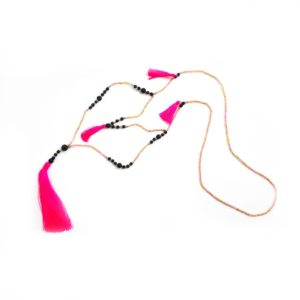 Double Strand Tassel necklace - Hot Pink and Black - Palm Edit