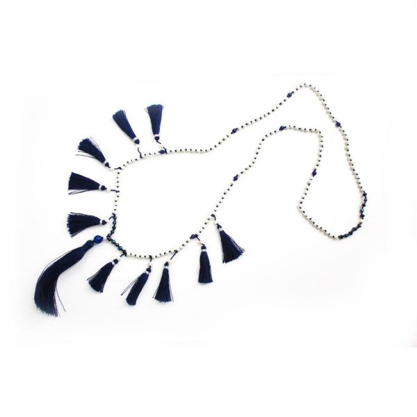 Multi Tassel necklace - Navy and white - Palm Edit